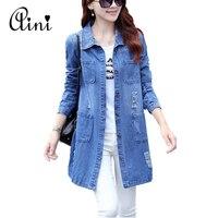 Plus Size 5XL Denim Jacket Women 2017 New Spring Autumn Fashion Long Sleeve Jeans Coat Female