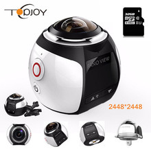 360 Cámara de Acción Wifi Mini Cámara Panorámica 2448*2448 Ultra HD Cámara Panorámica de 360 Grados Impermeable Sport Driving VR cámara