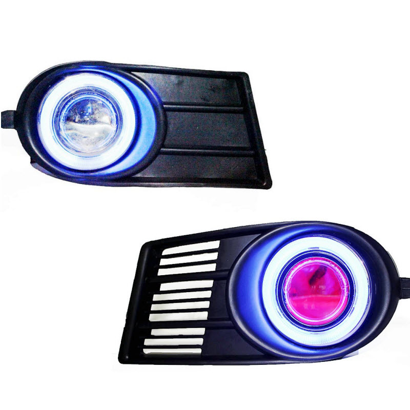 For Suzuki Swift 2006 To 2009 LED COB Angel Eyes DRL Yellow Signal Light H11 Halogen / Xenon Fog Lights with Projector Lens