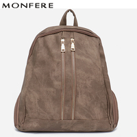 MONFERE Fashion New Pu Vegan Leather Backpack Multi Zip Pockets Knapsack Women High Quality Bags Daily Holiday Shoulders Bags