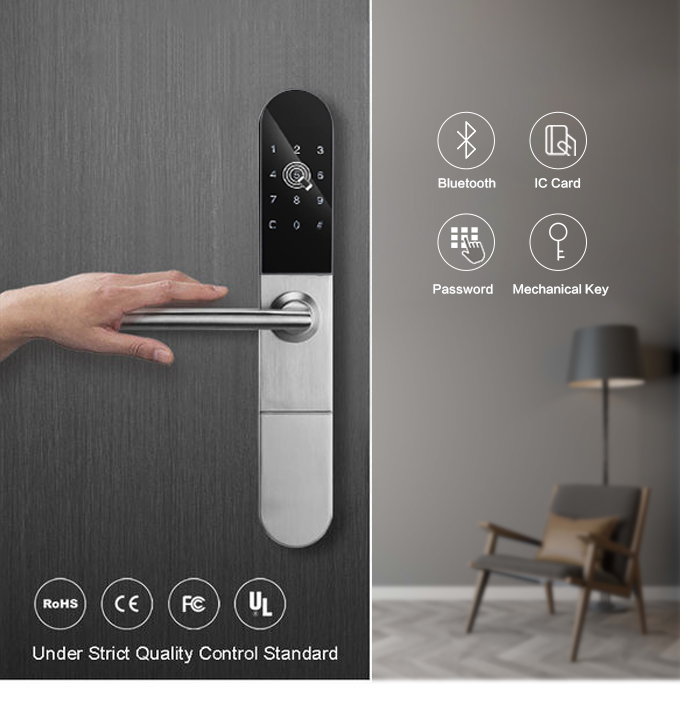 Waterproof Keyless European Bluetooth WiFi Electronic Door Lock,  App Smart Digital Code Lock For Aluminum Door