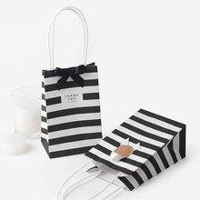 5 pcs קטן מתנת תיק עם ידיות אדום שחור פסים נייר תיבת תיק עבור מתנת אריזה מיני ממתקי שקית יום הולדת מסיבת קישוט