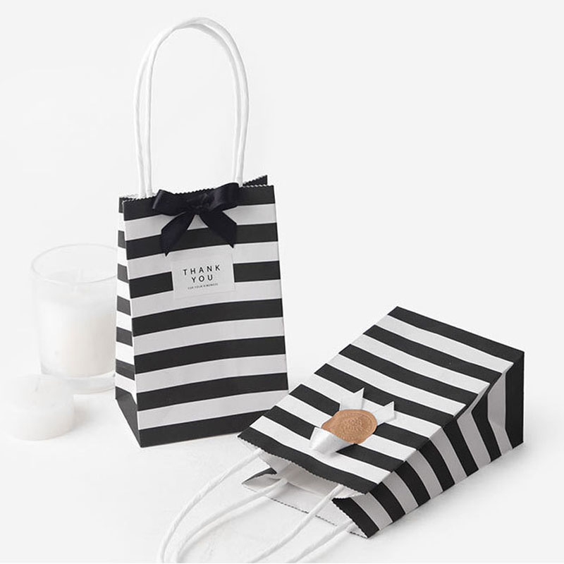 5pcs Small Gift Bag With Handles Red Black Striped Paper Box Bag For Gift Packing Mini Candy Bag Birthday Party Decoration
