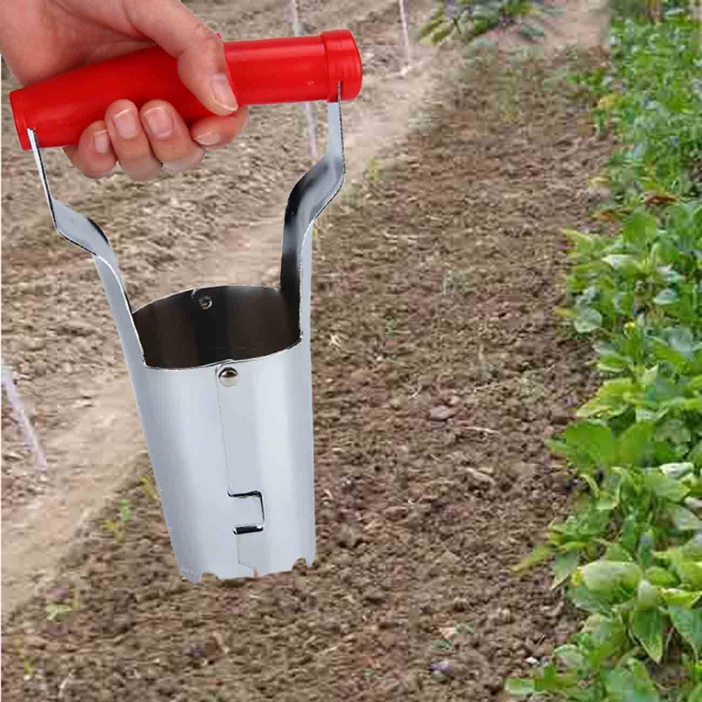 white steel seedlings of vegetables transplanted with transplanting tube home garden accerssories moving plant tools
