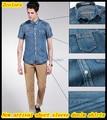 Free shipping New arrival European design men's short sleeve slim fit washed denim shirts QR-1437