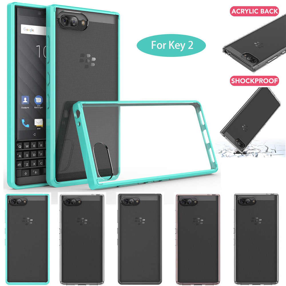 Pour BlackBerry KEY2 étui Slim Fit pochette de protection en polyuréthane thermoplastique dur acrylique dos clair étui antichoc pour Blackberry Key 2 BBF100/Athena
