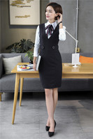 Autumn Winter Formal Striped Professional Business Suits With Dresses And Blouse Ladies Office Work Wear Uniforms