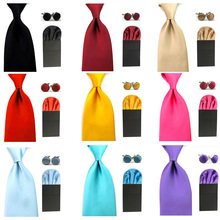 Men Satin Solid 8cm Wide Ties Pre-Folded Puff Pocket Square Hanky Cufflinks Set BWSET0059