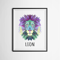 Geometric Lion Canvas Art Print Painting Poster Wall Pictures For Home Decoration FA237 22