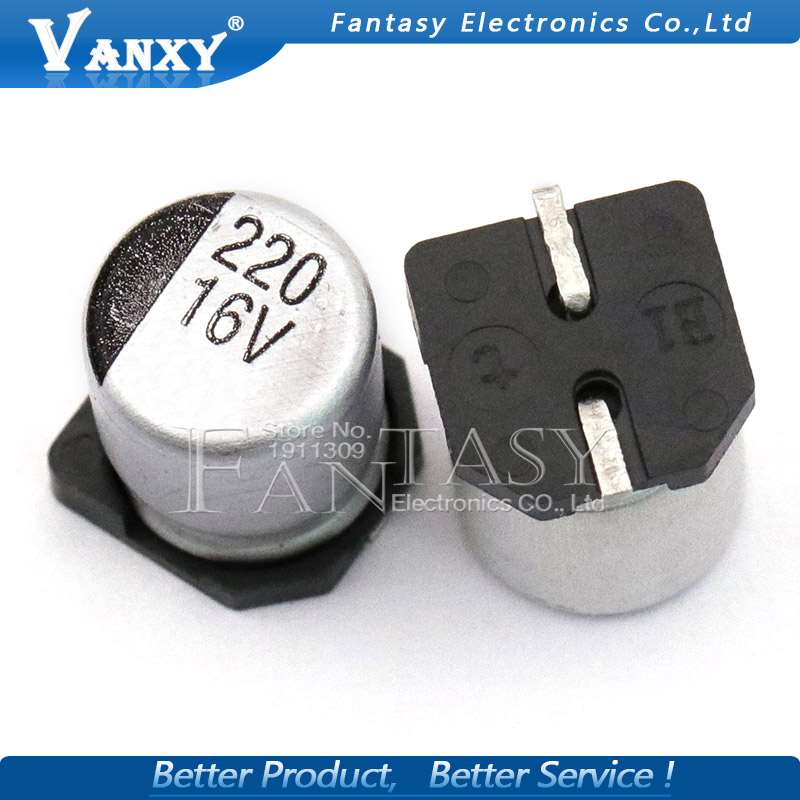 10PCS Electrolytic Capacitor 16v220uf 6.3*7.7mm SMD Aluminum Electrolytic Capacitor 220uf 16v