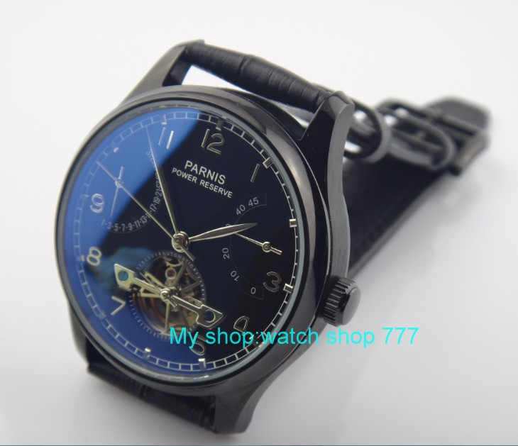 43mm PARNIS Asian ST25 Automatic Self-Wind Mechanical movement men's watch PVD case power reserve Mechanical Wristwatches rnma