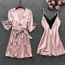 MECHCITIZ Seksi Femme Robe Elbise Seti Yaz Gecelikler Dantel Pijama Bornoz Nedime Düğün Elbiseler Kadın iç çamaşırı seti