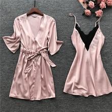 MECHCITIZ Sexy Femme Robe Gown Set Summer Nightwear Lace Sleepwear Dress Bathrobe Bridesmaid Wedding Robes Women Lingerie Set