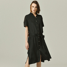 100% Silk Dress Women Half Sashes Design O Neck Short Batwing Sleeves Simple Style Solid Loose Dress New Fashion Summer 2019 simple style sleevelessu neck loose fitting black dress for women
