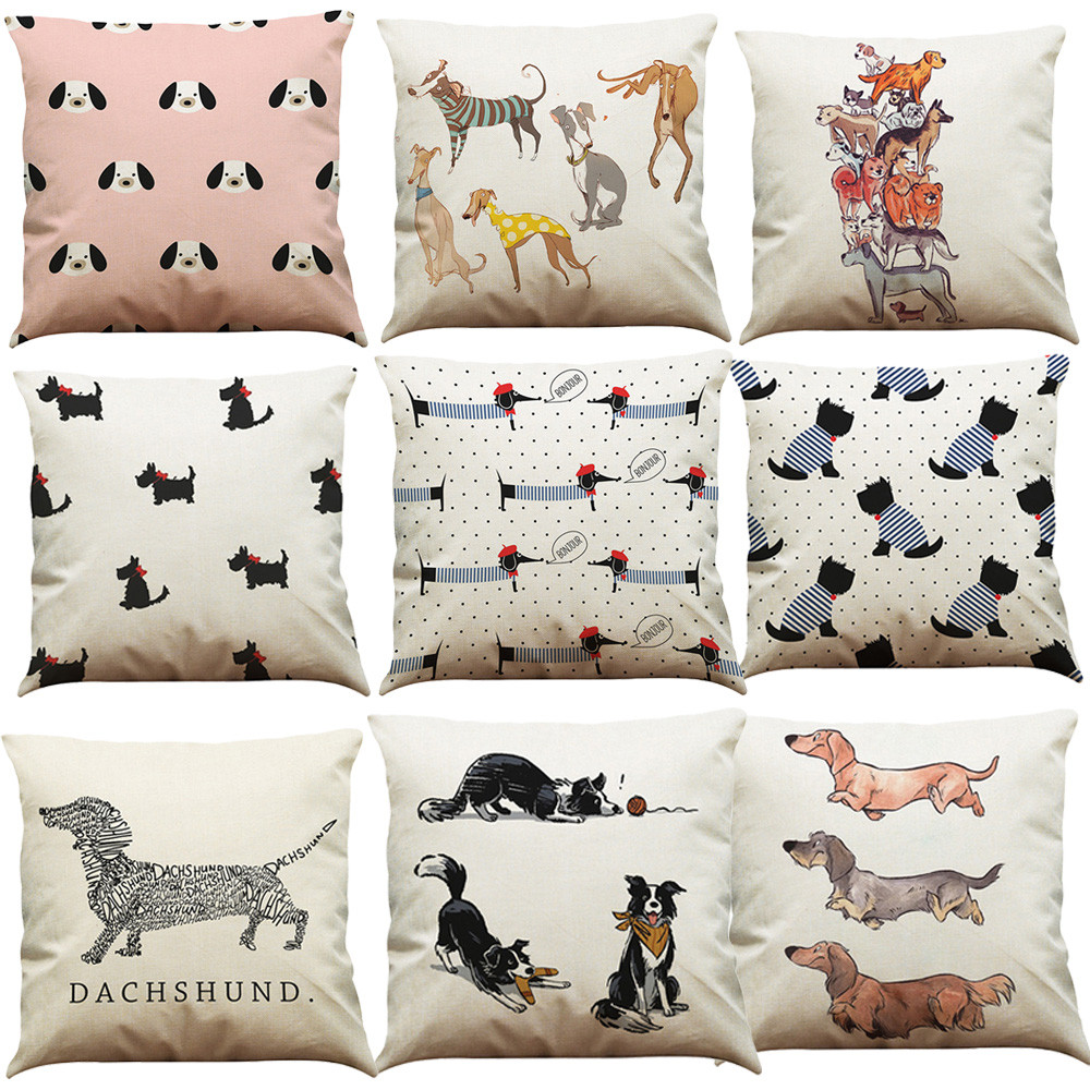 Lovely Dog Cartoon Print Pillow Case Cotton Linen Sofa Waist Throw Cushion Cover For Sofa Car Pillow Case Home Decor #L