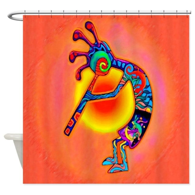 Lizard Kokopelli Sun Shower Curtain Decorative Fabric For The Bathroom With 12 Hooks