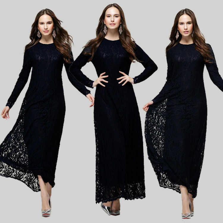 6d542bf4c7 2019 New model ababy in dubai Muslim women long dress double layer Lace dress  fashion indonesia