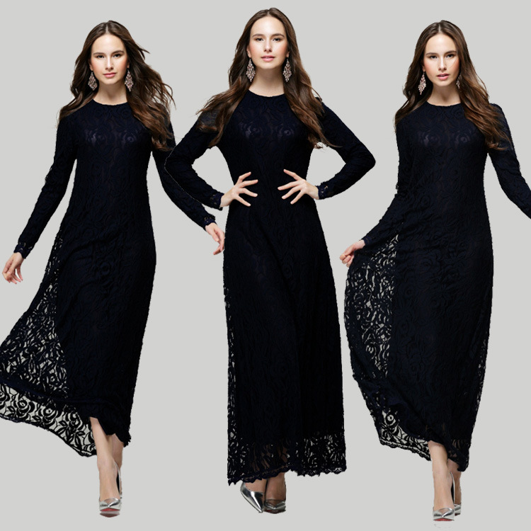 47b9b566235c9 2019 New model ababy in dubai Muslim women long dress double layer Lace  dress fashion indonesia muslim maxi dress