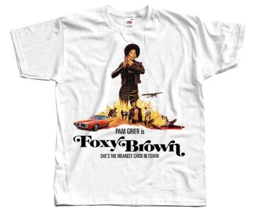 Foxy Brown V2, poster, 1974 T SHIRT NATURAL WHITE all sizes S to 5XL Short Sleeve Fashion Summer Printing Casual