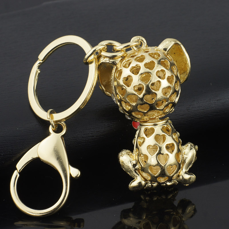 Dormon Dalmatian Dog Heart Pendant Crystal Handbag Keyrings Keychains For Car Charm Trinket Women Bag Key