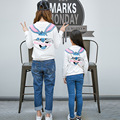 2017 Family Hoodies Mom Daughter Family Matching Clothing Full Sleeve Cartoon Rabbit Cotton Sweatshirts Mommy Kids Shirt Clothes