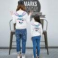 2017 sudaderas con capucha de la familia mamá hija familiar a mamá kids clothing sudaderas de algodón de conejo de dibujos animados manga completo camisa ropa