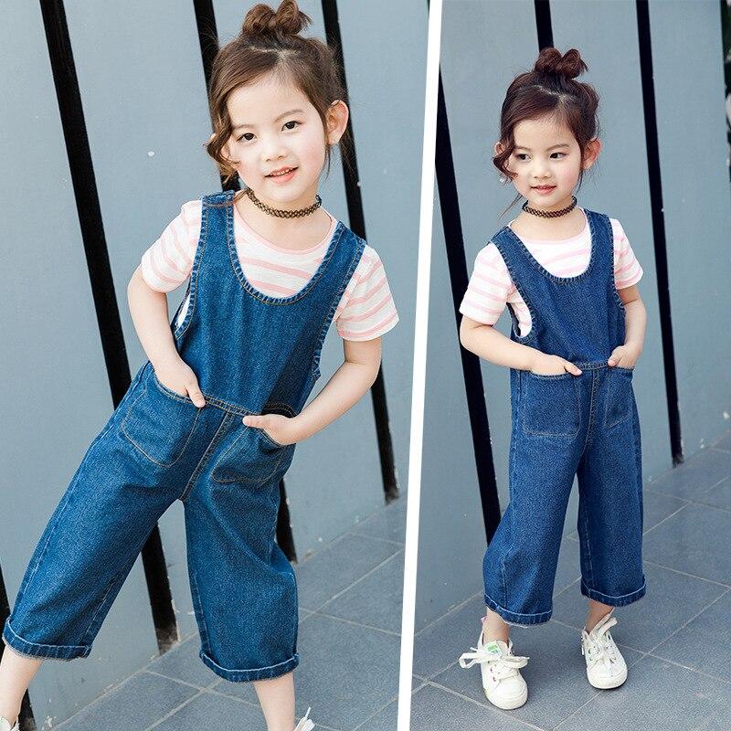 Модная одежда для детей, Детская мода комбинезон новый бренд 2017 Европа и США популярная модель джинсовые штаны Комбинезоны для девочек джин... ...
