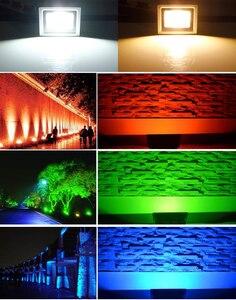 Image 5 - 10w conduziu a luz de inundação branco/branco morno/vermelho/verde/azul/rgb ao ar livre impermeável ip65 multicolorido spotlight + 24key ir remoto ac 85 265v