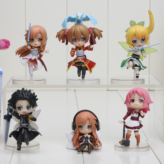 6pcs/set 6cm Sword Art Online Fairy Dance Kirito Asuna Lefa PVC Action Figures Toys
