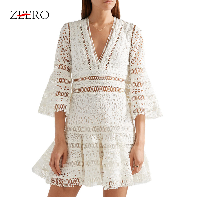 Luxury New Fashion 2019 Embroidery Runway Dress Self Portrait Women Flare Sleeve Sexy V neck Hollow
