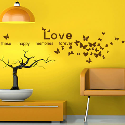 Photo Wall Decorative Sticker Love These Happy Memories Forever Butterflies  Wall Quote Decal Home Decor 22.5
