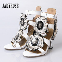 Jady Rose 2017 New Style High Heel Peep Toes Sandals Sweet Rhinestone Feather Decor Female Gladiator