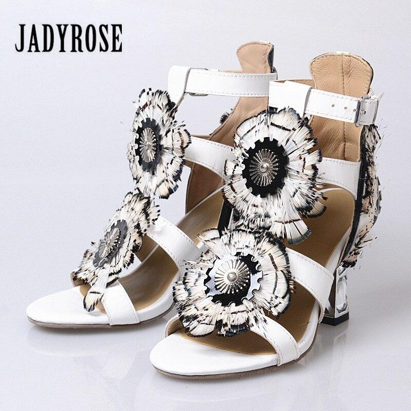 Jady Rose 2018 New Style High Heel Peep Toes Sandals Sweet Rhinestone Feather Decor Female Gladiator Sandal Prom Dress Shoes цена