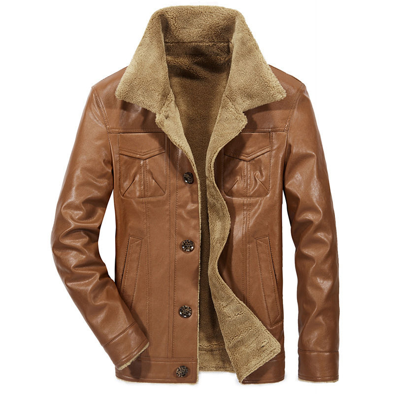 Мужская куртка из искусственной кожи, теплая зимняя флисовая куртка с мехом, 2020