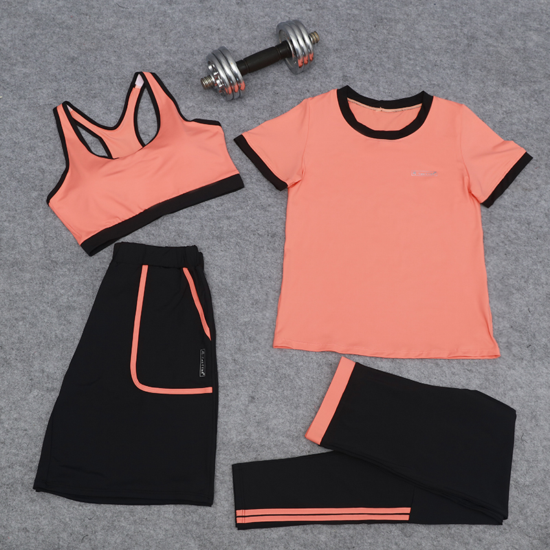 4 Pieces Women Yoga Set Sportswear T-Shirt+Bra+Shorts+Pants Quick Dry Jogging Suit 3 Colors Comfortable Fitness Exercise Running все цены