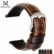 MAIKES Watch Accessories Watchband Oil Wax Leather Watch Strap 20mm 22mm 24mm Watch Band For Panerai Seiko Fossil Etc Brand
