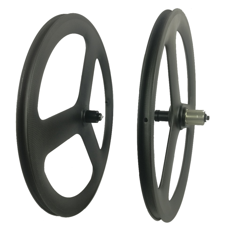 new design 3 spoke 451 carbon <font><b>wheels</b></font> 451 tri spoke <font><b>BMX</b></font> carbon wheelset clincher <font><b>wheels</b></font> 11s fixed gear <font><b>wheels</b></font> image