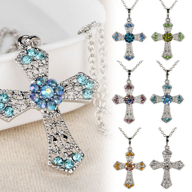 Fashion Long Chain Choker Necklaces Shellhard Charming Crystal Cross Pendant Nec