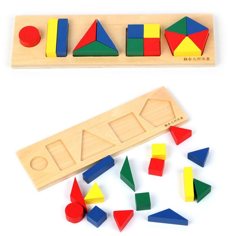 Baby Toys Montessori Geometric Shape Plate Educational Wooden Assembling Blocks Child Gift
