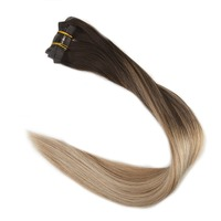 Full Shine Seamless Remy Clip in Human Hair Colorful Thick Clip in Extensions 8 pieces Solid Balayage Color Double Weft Clip ins