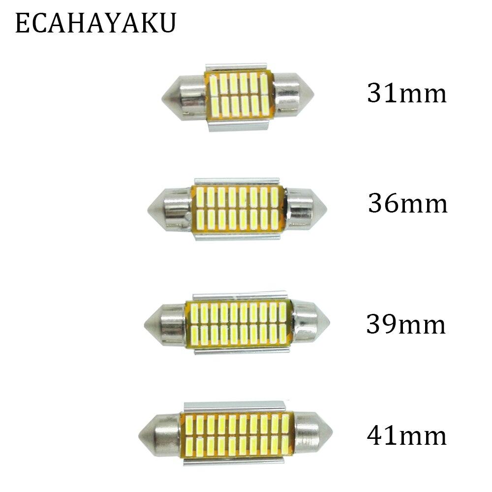 ECAHAYAKU 20PCS C5W 31mm 36mm 39mm 41mm LED COB 3014 SMD Car Light Bulbs Auto Interior Dome Map License Plate Lamps 12V White