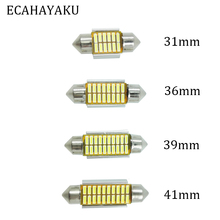 ECAHAYAKU 20PCS C5W 31mm 36mm 39mm 41mm LED COB 3014 SMD Car Light Bulbs Auto Interior Dome Map License Plate Lamps 12V White