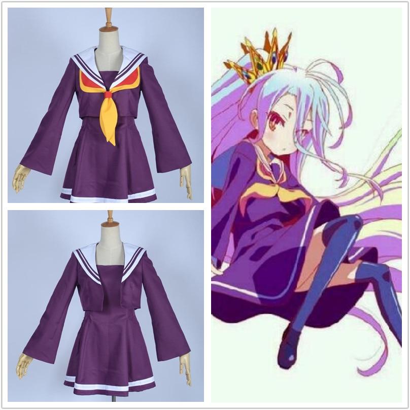No Game No Life Shiro emboitement Heroine Purple Sailor Dress Costume Suit for girls Halloween costumes