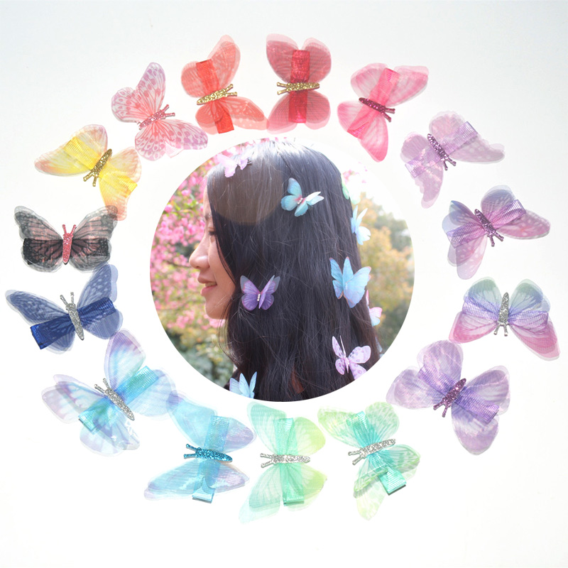 Korean 2018 New 3D Cute Double Layer Chiffon Simulation Butterfly   Headwear   Hair Clip For Women Girls Hairpin Hair Accessories