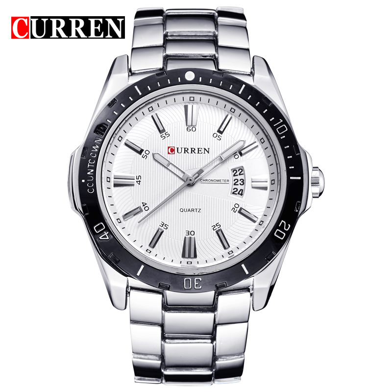 Buy 2016 curren luxury brand full steel fashion quartz watch business men date for Watches clearance