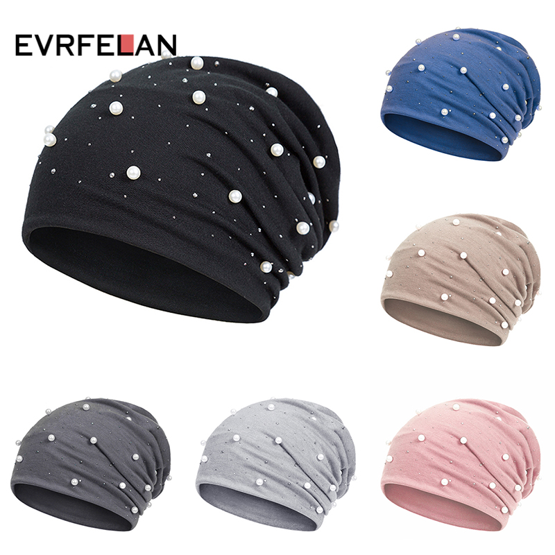 Evrfelan Fashion Pearl Autumn Women's Skullies Beanies Hat Female Winter Beanies Caps Solid Warm Cotton Hats Ladies(China)