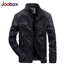 JOOBOX Brand 2018 Mens Autumn Jackets And Coats Business Leisure Cotton Liner Stand Collar Cotton leather jacket winter Clothing