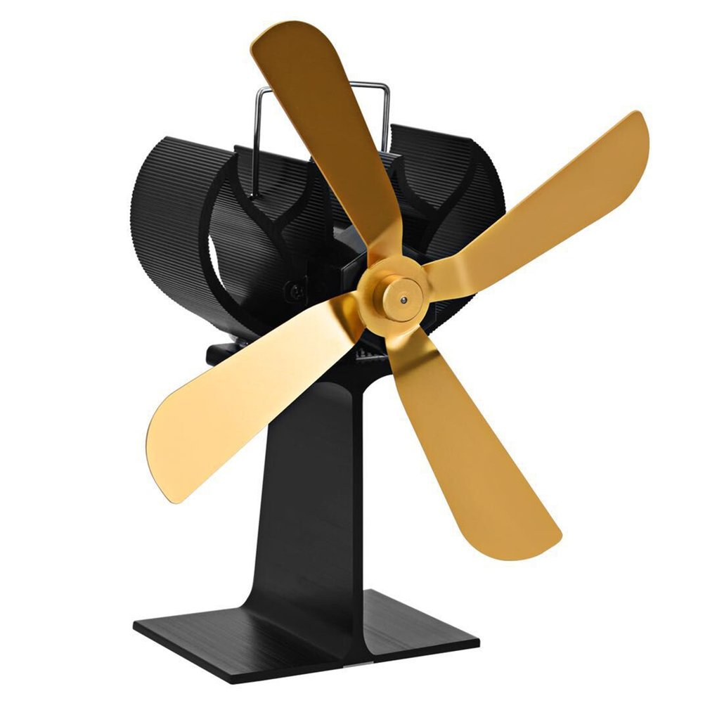 4 Blades Heat Power Wood Stove Eco friendly Fan