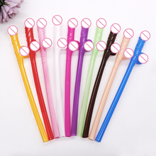 10PCS Penis straw Bachelorette party decoration disposable tableware Adult theme party plastic drinking willy straw night party