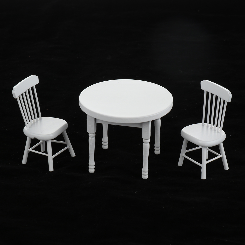 Miniature Wooden Dining Room Table Chairs Set White Kids Play House Life Scenes Accessories